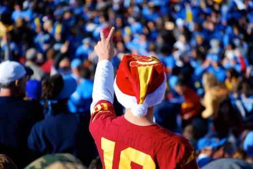 Trojan fan taunting Bruin fans.  Photo by Eric Chan.