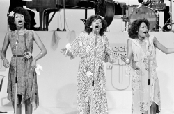 The Pointer Sisters perform on television in the Netherlands in 1974.