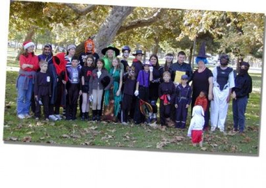 A Halloween party at our homeschoolers park day.
