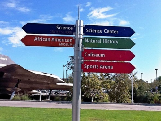 A directional sign at Exposition Park.  Photo by Joan Hall.