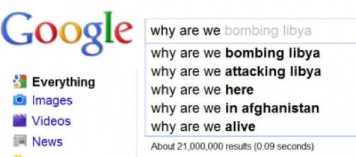 "Google Suggestions when you type in ""Why we are""  (Lots of people are asking these questions!)"