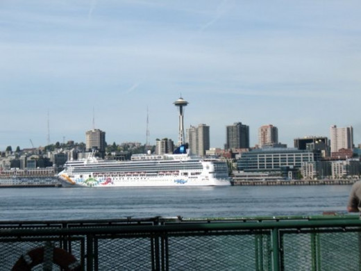 View of Seattle Space Needle from Bremerton Ferry