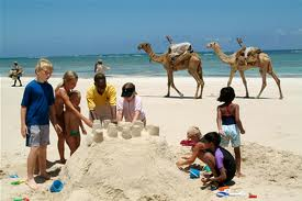 Tourists at a Mombasa beach