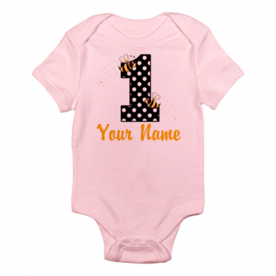 Personalized Baby Onesie for 1st Birthday - Also Available in Blue