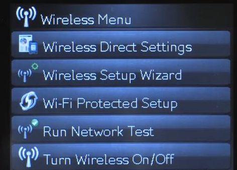 Wireless Direct Settings Menus Option