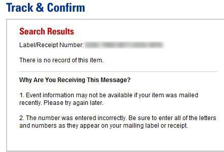 USPS Tracking There is no Record of this Item.