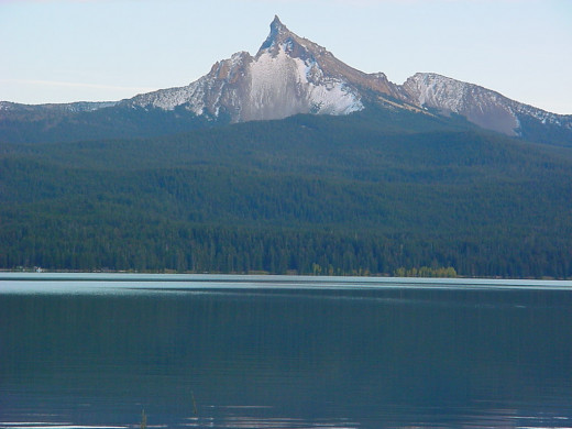View of Mt. Thielsen from near the middle of the lake