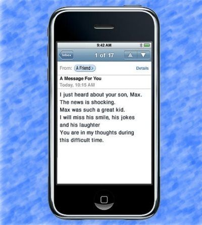 Condolence Note Sent on a Cell Phone