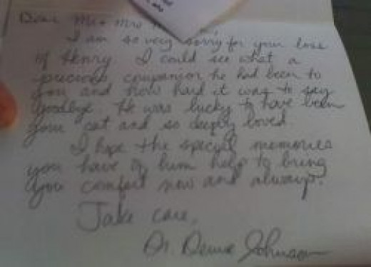 Sympathy letter from the Veterinarian