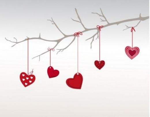 Valentine Ornaments on a Tree