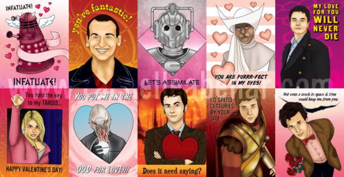 This is a picture of some of the fun Doctor Who cards you can find for Valentine's Day.  The picture itself is a link, click on it to visit blog.rachelleabellar.com