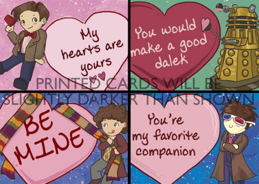 These Doctor Who themed cards are also sold on Etsy and they are full of love as you can see by the hearts.