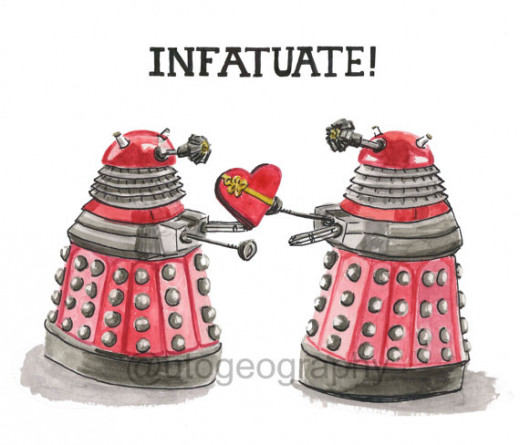 You can find this Dalek card on sale at Etsy.