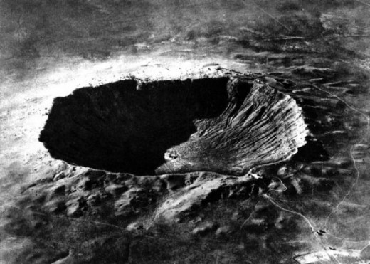This is a picture of a crater formed when a meteor crashed into the Earth some 50,000 years ago.  The crater is located near Winslow, Arizona.  This meteor crater picture is in the public domain.