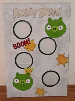 Angry Birds Party Games - Homemade Angry Birds Ring Toss Game from homemadebeautiesbyheidi.blogspot.com