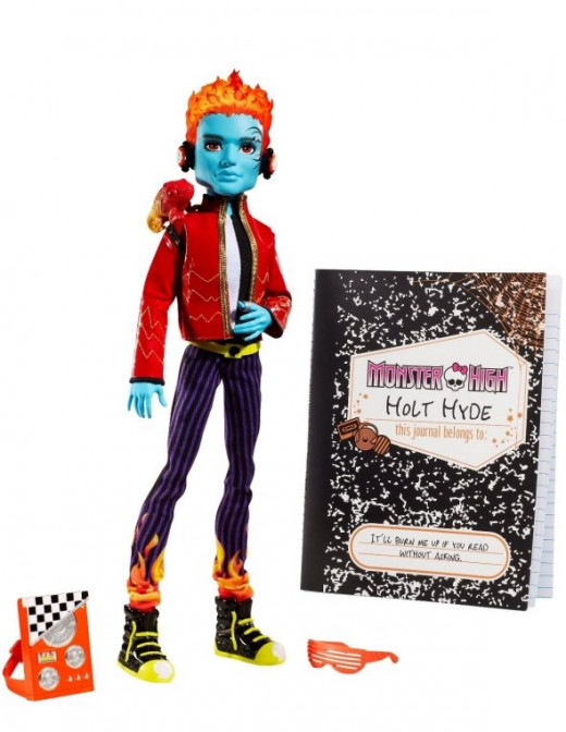 Holt High is A Rocking DJ And He's Also The Alter Ego Of Jackson Jekyll.  You remember the story of Dr. Jekyll and Mr. Hyde, well, here's Monster High's version.  The image is from Amazon and you can buy the Holt Hyde doll on this page.