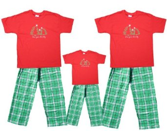 Green Plaid Jammie Pants with Red Top, Christmas Tree Motif