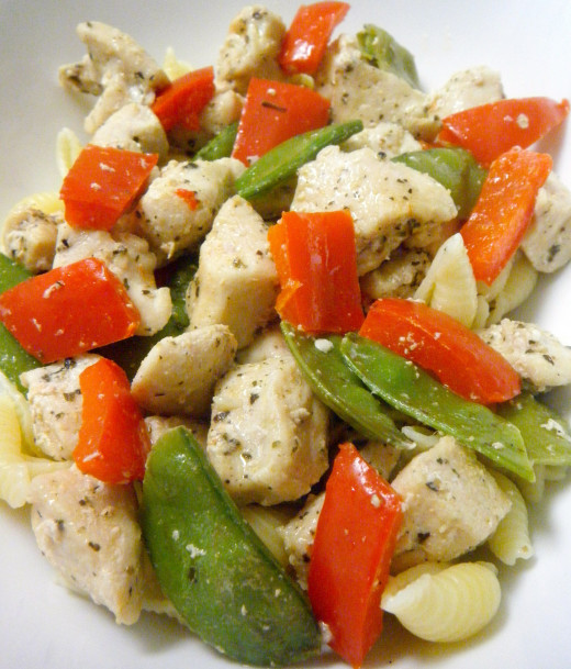 Chicken and Vegetables with Seashell Pasta