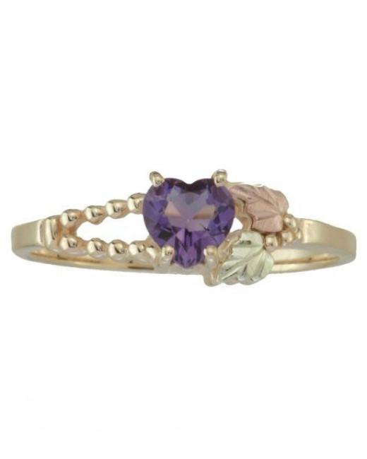 rose gold amethyst heart ring