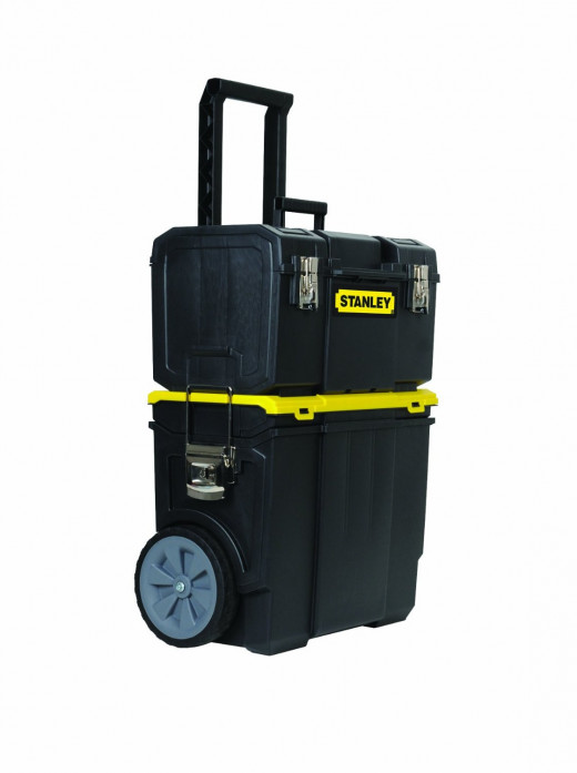 Telescopic handle makes pulling this rolling toolbox a breeze.  And to top it off the handle folds down for storage.