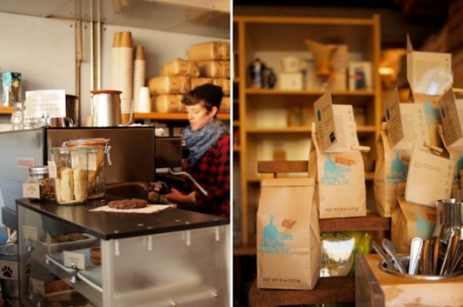 Left: Busy Blue Bottle barista; Right: Blue Bottle coffee for sale!