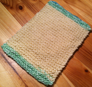 my first new dishcloth after three years. I like small cloths so they're easy to handle. If you want a larger cloth simply cast on more stitches.