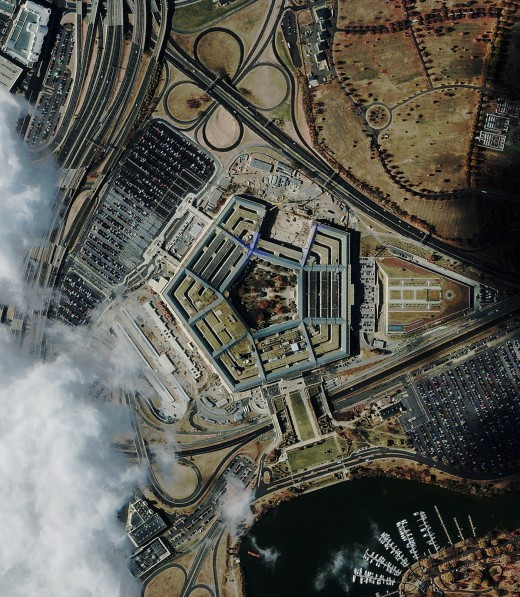 A satellite image of the Pentagon upon being attacked on 9/11
