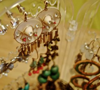 closeup Mom's Mexican hat 1950s earrings