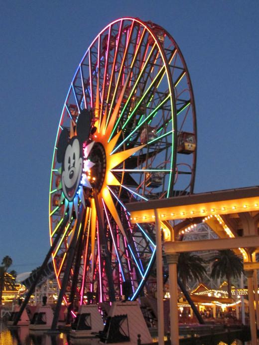 A night view of Mickey's Fun Wheel