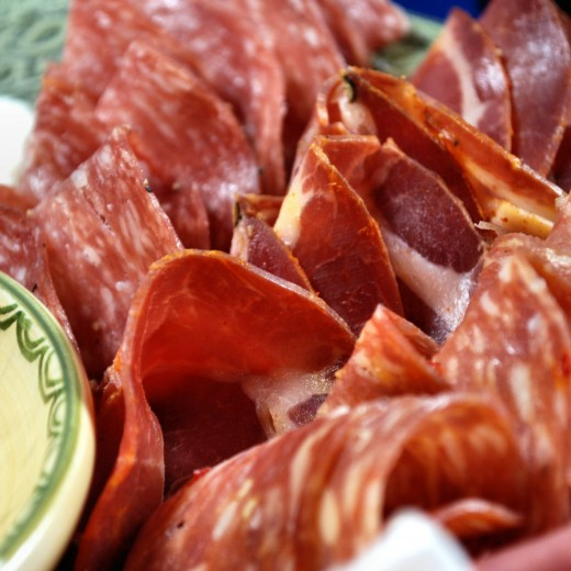 A variety of mild and hot salami.
