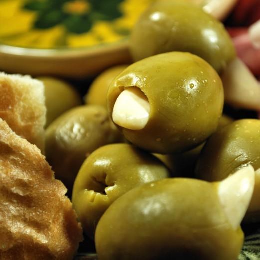 Garlic stuffed olives.