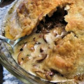 Baked Le Pleine Lune with Mushrooms and Walnuts