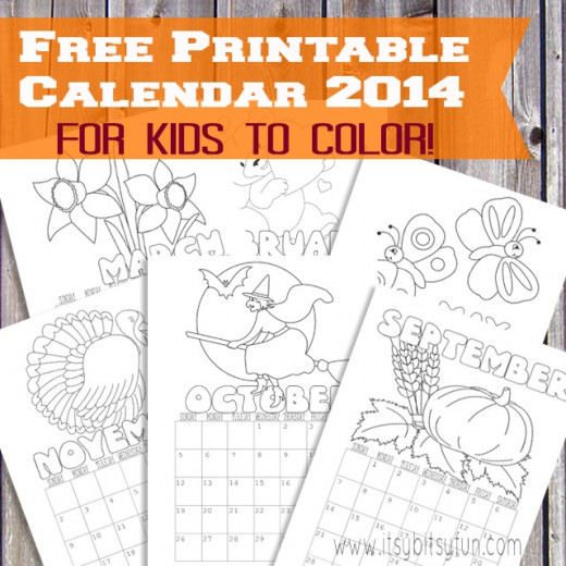 Printable Monthly Calendar For Kids : Childrens coloring calendars templates search