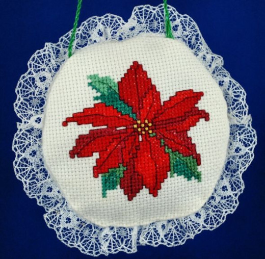 I'd made a pair of lace framed cross stitch ornaments, but this is the only one left.