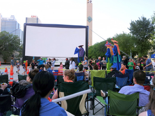 Dances and contests were held as we waited for it to get dark enough to watch the movie.