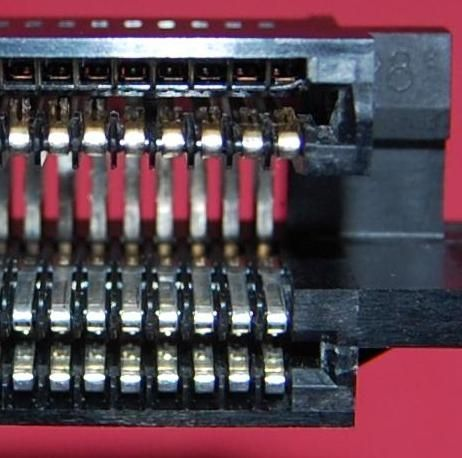 The pins on the 72-pin connector that need to be bent