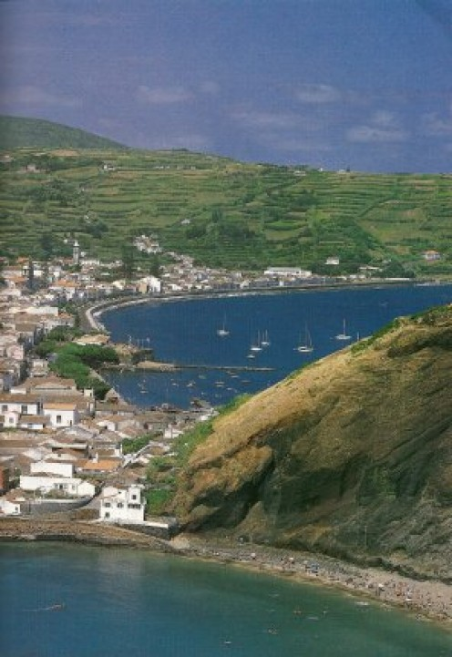 Looking down on Horta township on Faial Island.