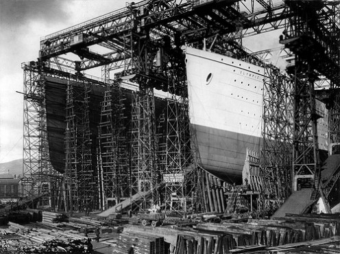 Titanic and Olympic on the slipway at Harland & Wolff. As the first of her class Olympic is in the white livery for launch.