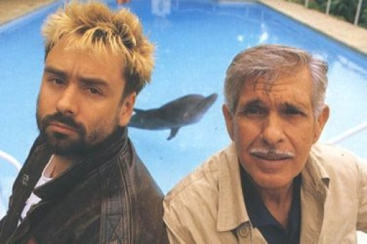 Director/writer Luc Besson with real life free diver Jacques Mayol.