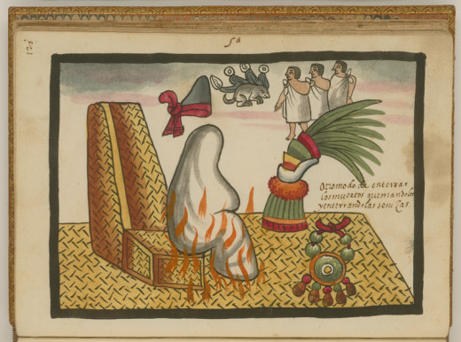 An Aztec mummy being given funeral rites, as depicted in the 16th Century Tovar Codex.