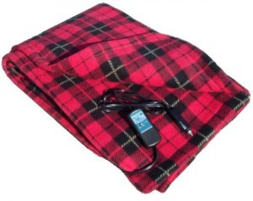 Heated Fleece Travel Electric Blanket - 12 Volt - Red Plaid