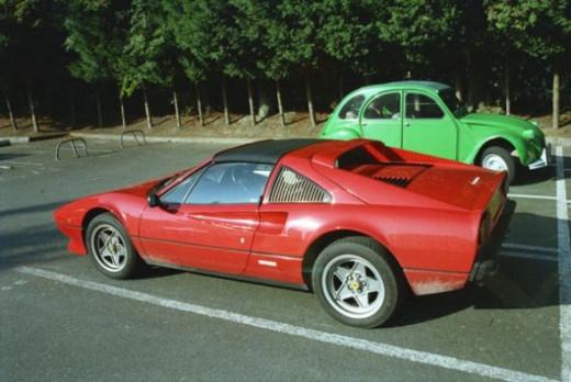 Ferrari 308 GTS QV and a Citroen 2CV