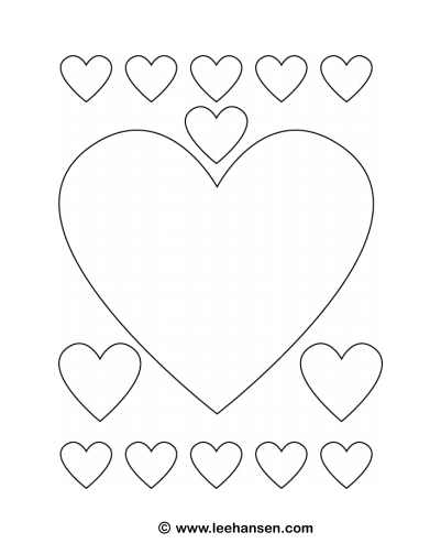 Hearts coloring craft template printable