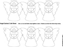 Angel swag garland coloring craft template