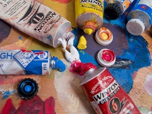 Artist paints and palette for color by number oil painting