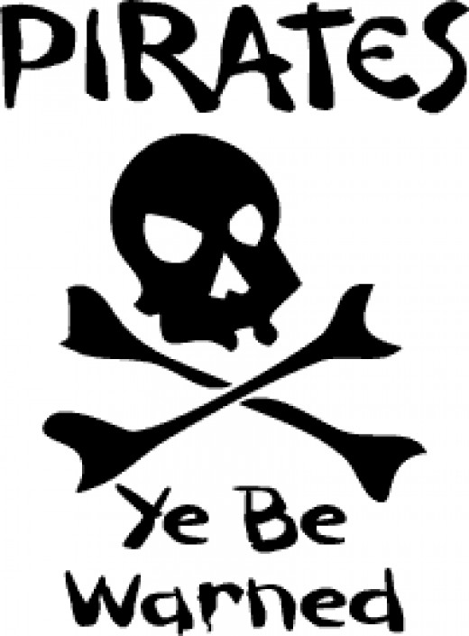 Pirate clip art or printable sign, personal use permitted