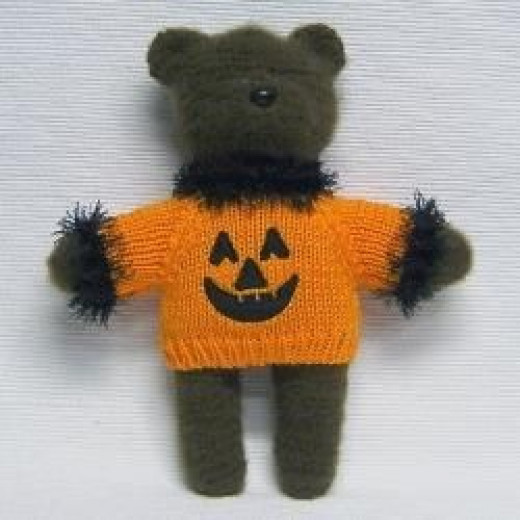 Halloween Knit Boo Bear with Pumpkin Sweater