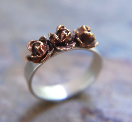 Three Rose Ring by Kit and Caboodle Shop on Etsy