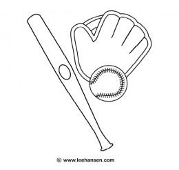 Baseball bat, glove, ball coloring page