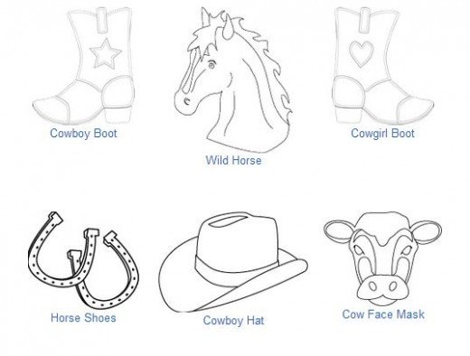 Western rodeo and cowboy coloring pages